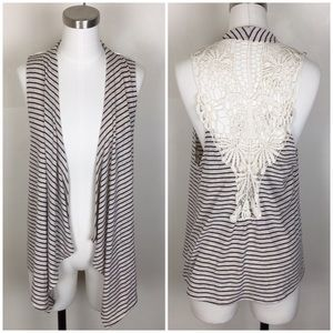 Navy striped Lace Back Waterfall Vest